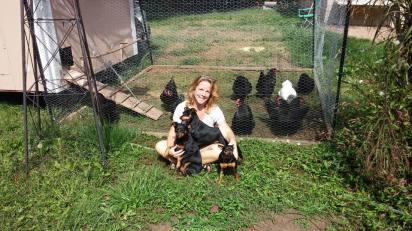 Kristine & Dogs & Chickens